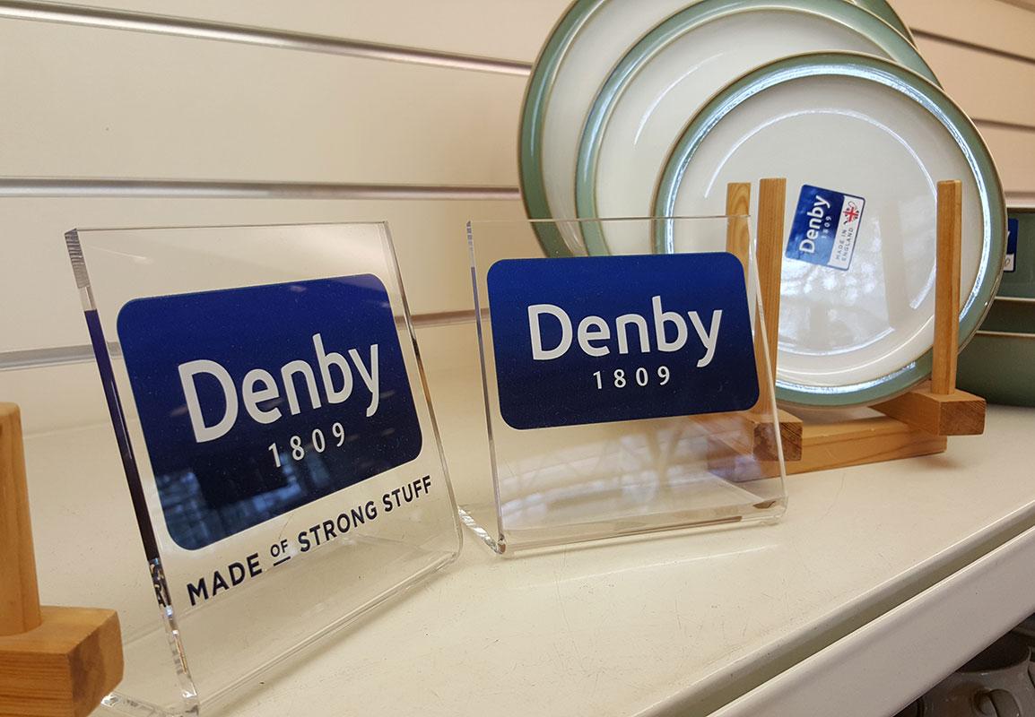 Denby on Shelf Acrylic Signage